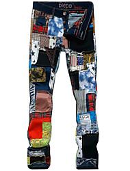 BIEPA® 2015 New Men Hole Patch Stretch Jeans Colorful Patchwork Biker Jeans