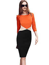 Women's Vintage Round Neck Dress , Cotton Blends Orange Casual/Party/Work