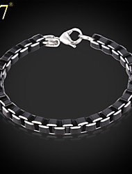 U7® Men's Cool Black Box Aluminum Alloy Men Jewelry With 316 Stamp High Quality Trendy 21 CM Box Link Chain Bracelets