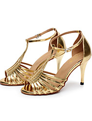 Non Customizable Women's Dance Shoes Leatherette Leatherette Latin / Salsa Sandals Stiletto Heel Practice / Professional / IndoorSilver /