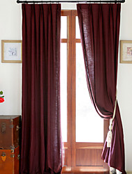 Two Panels Fashion Linen Cotton Solid Panel Bedroom Curtains Drapes