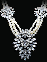 Doban Women's Fashion Pearl Beaded Crystal Delicate Beautiful Necklace