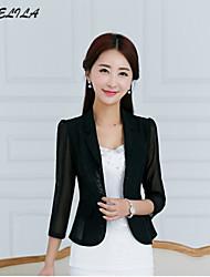 Women's ¾ Sleeve Chiffon/Cotton Short Casual Blazer