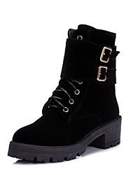 Feminino-Botas-Saltos / Conforto / Coturno / Botas Cano Curto / Arrendondado / Botas Montaria / Botas da Moda-Salto Baixo-Preto-Couro