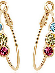 Hoop Earrings Crystal Cubic Zirconia Gold Plated Simulated Diamond Statement Jewelry Gold Jewelry 2pcs