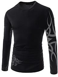 Men's T-Shirts , Cotton Blend Long Sleeve Casual YYZ