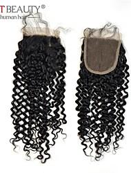 Cierre de pelo rizado cabello humano 10-20 pulgadas remy naturales negro 4 * 4 de cierre