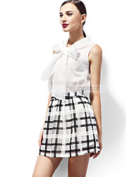 Smart Design! Sleeveless Shirt with Bow-knot neckline And Skirt with Netting Pattern Elegant Woman  Skirt Outfit