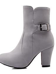 Черный / Красный / Серый - Женская обувь - Для праздника / На каждый день - Искусственная замша - На толстом каблуке -С круглым носком /