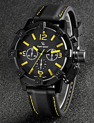 V6® Men's Fashion Black Case Racing Dial Silicone Strap Quartz Casual Watch Cool Watch Unique Watch