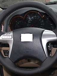 XuJi ™ Black Genuine Leather Steering Wheel Cover for Toyota Fortuner Hilux