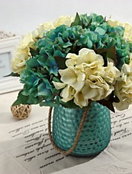 A Bunch Of 6 Fork Polyester Hydrangeas Artificial Flowers(1pc)