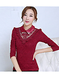 Women's Shirt Collar Lace Blouse , Lace Long Sleeve
