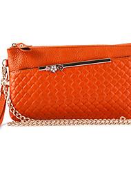 Women Casual Cowhide Zipper Shoulder Bag/Clutch/ Blue/ Orange/Apricot/Green/Black/Yellow/Red/Plum