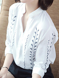Women's Stand Blouse , Cotton ¾ Sleeve