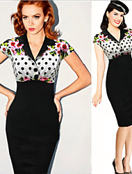 Women's Polka Dot White Dresses , Bodycon V-Neck Short Sleeve