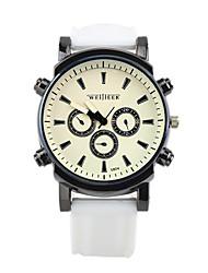 relojes de los hombres de la correa de silicona gran cara del dial de acero inoxidable relojes masculinos cuarzo ocasional
