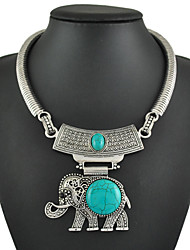 Unique Vintage Elephant Turquoise Pendant Necklace For Women Vintage Silver Chain Necklaces Gifts
