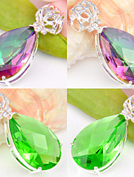 Fashion Forward Gift Drop Fire Green Quartz Mystic Topaz Gem 925 Silver Pendants for Necklaces For Wedding Party 1pc