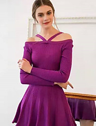 Women's Off-the-shoulder/Wide Neck Dresses , Cotton Blend Casual/Party Long Sleeve Phylomeya
