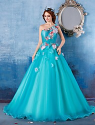 Formal Evening Dress Ball Gown One Shoulder Floor-length Satin / Tulle with Flower(s) / Tassel(s)