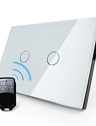 Livolo uns / ua Standard-Fernschalter, Kristallglasplatte, 2-fach 2-Wege, weiß / schwarz, vl-c302sr-81/82