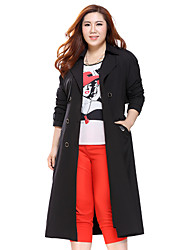 Prettyshow 2015 autumn new arrival women big size XL-5XL waisted slimming long style trench clothes QA3CF0339