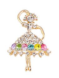 MISSING U  Diamonade  Gold Plated Gemstone & Crystal Zirconia Colorful Brooch