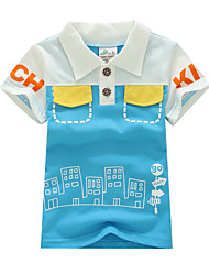 Boy's Summer Inelastic  Embroidery Thin Short Sleeve Tees (100% Cotton) 2T 3T 4T 5T 6T 7T 8T