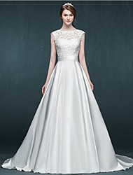 A-line Wedding Dress Court Train Jewel Satin with