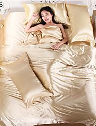 Bed Linen Satin Textile Silk Chinese Silk Bedding Set Red Wedding Sets Bedsheet Pillowcase