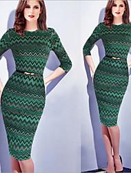 Women's Patchwork Green Dresses , Bodycon Round ¾ Sleeve
