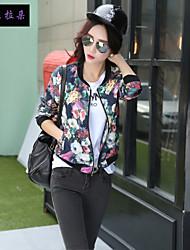 Women's V Neck Flower Short coat Blouse Baseball movement clothing  , Spandex/Polyester Long Sleeve