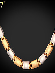 U7® Unisex Platinum 18K Real Gold Plated New Trendy 22'' Fancy Italy Two Tone Gold Chain Necklace