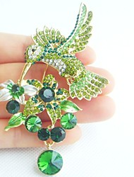 3.54 Inch Gold-tone Green Rhinestone Crystal Hummingbird Brooch Art Deco