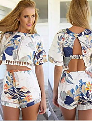 Women's Round Suits , Cotton Blend Casual/Print Short Sleeve summer
