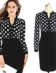 Women's V-Neck Dresses , Chiffon/Cotton Sexy/Bodycon/Print/Party/Work Long Sleeve JingJing
