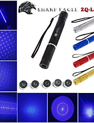 SHARP EAGLE ZQ-LA-1a 445nm 5mw Blue Laser Pointer (Shell Color Multicolor) + 5 Laser Patterning Head + Laser sword