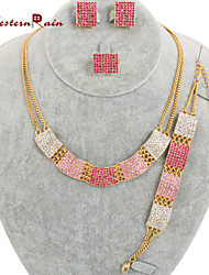 WesternRain Bright Pink gold plated Necklace Set Fashion Young Lady Accessories Nice Women Costume Fashion Jewelry Set