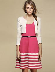 High-quality Women Knit Sleeveless Striped Dress Princess Dress Fashion Women Dress Natural Cotton ZNZ719