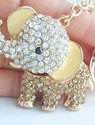 Unique Elephant Key Chain With Clear & Topaz Rhinestone Crystals