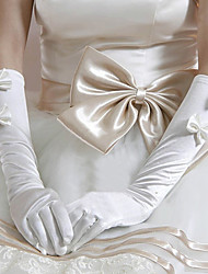 SatinLycra Elbow Length Wedding/Party Glove With Rhinestones
