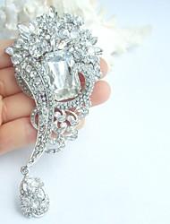 Wedding 4.72 Inch Silver-tone Clear Rhinestone Crystal Bridal Brooch Wedding Deco Bridal Bouquet Wedding Flower Brooch