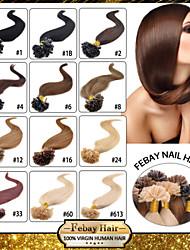 "100pcs 16-24"" Brazilian Virgin Hair U Tip Fusion Hair Extension Nail Tip Hair Extensions Keratin Fusion 001"