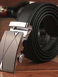Men's Genuine Leather Fashion Automatic Buckle Wide Belt