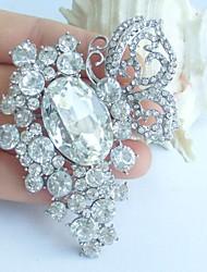 2.95 Inch Silver-tone Clear Rhinestone Crystal Butterfly Flower Bridal Brooch Pendant Wedding Decorations