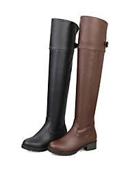 Zapatos de mujer - Tacón Bajo - Punta Redonda / Botas a la Moda - Botas - Vestido - Semicuero - Negro / Marrón