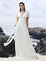 Lanting Bride® A-line Wedding Dress Court Train V-neck Georgette