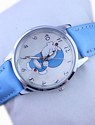 Children's Doraemon Pattern PU Band Cute Cartoon Analog Wrist Watch Cool Watches Unique Watches