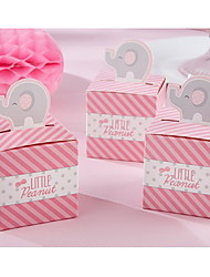 Pink Baby Shower Party Favor Boxes Candy Box Wedding Favor Box With Elephant  (Set of 12)